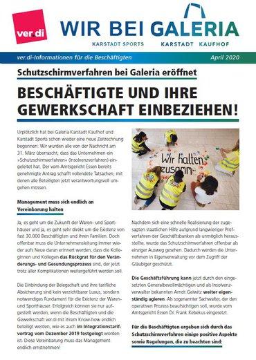 Galeria Karstadt Kaufhof April 2020