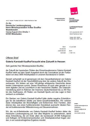 BR Galeria KK an die Hessische Landesregierung