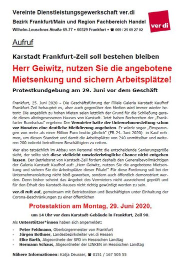Protestkundgebung am 29. Juni 2020 Karstadt-Zeil