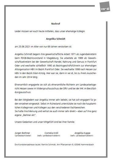 Nachruf Angelika Schmidt